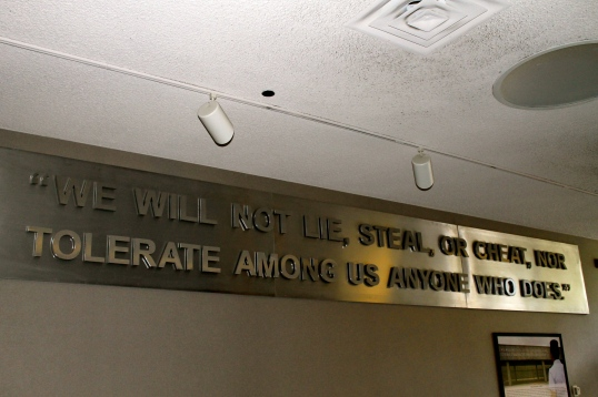 """We will not lie, steal, or cheat, nor tolerate among us anyone who does."""